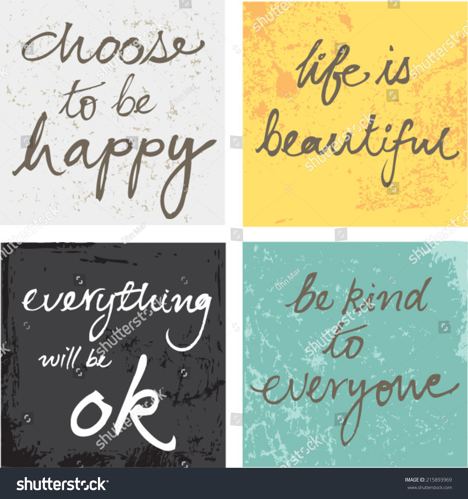 4 Hand Written Inspirational Typographic Words Quotes On