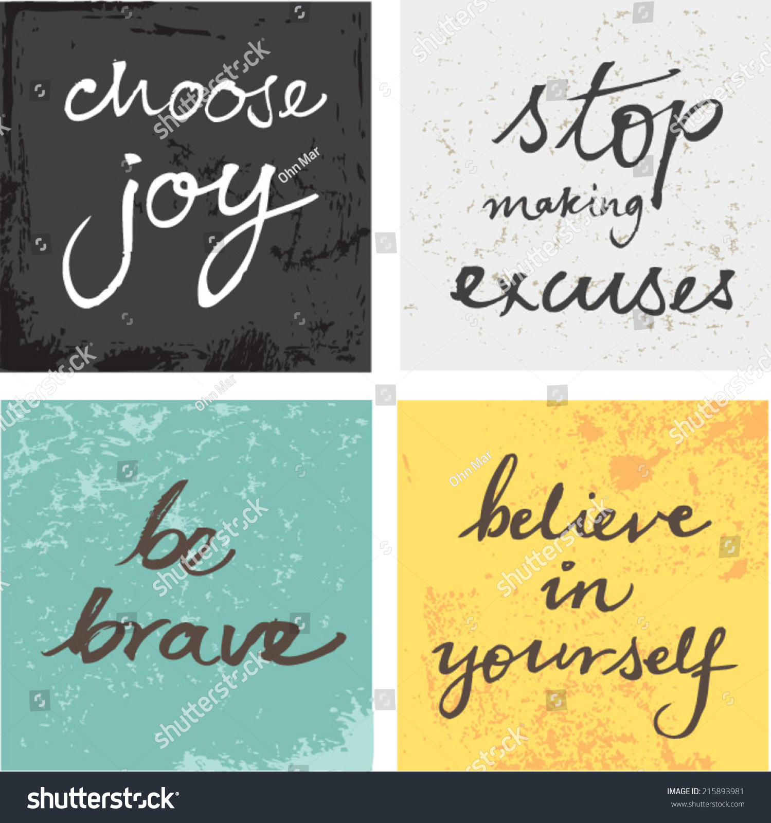 4 hand written inspirational typographic words quotes on grunge background