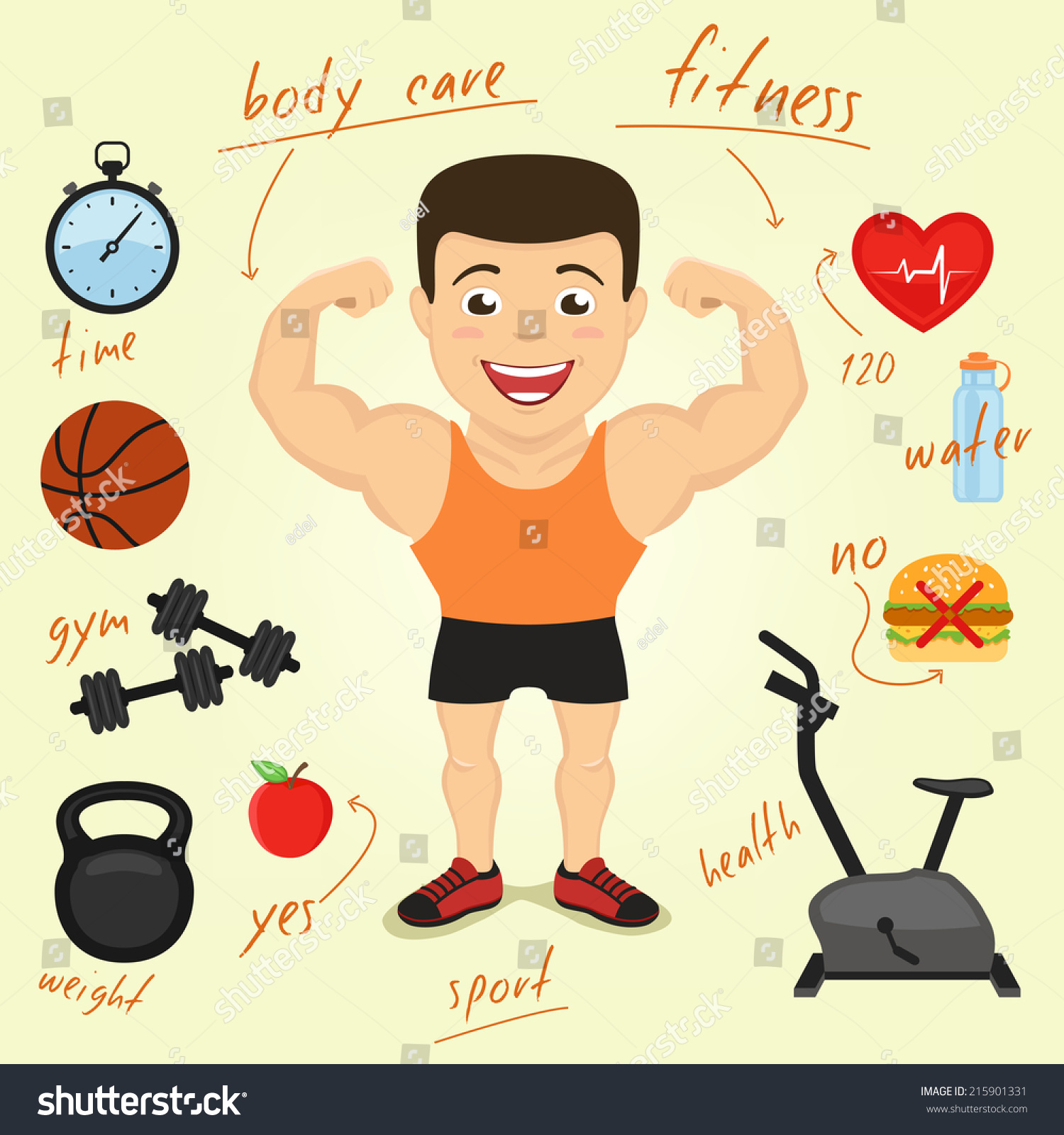 Cartoon Character Infographics Elements Fitness Sport ...