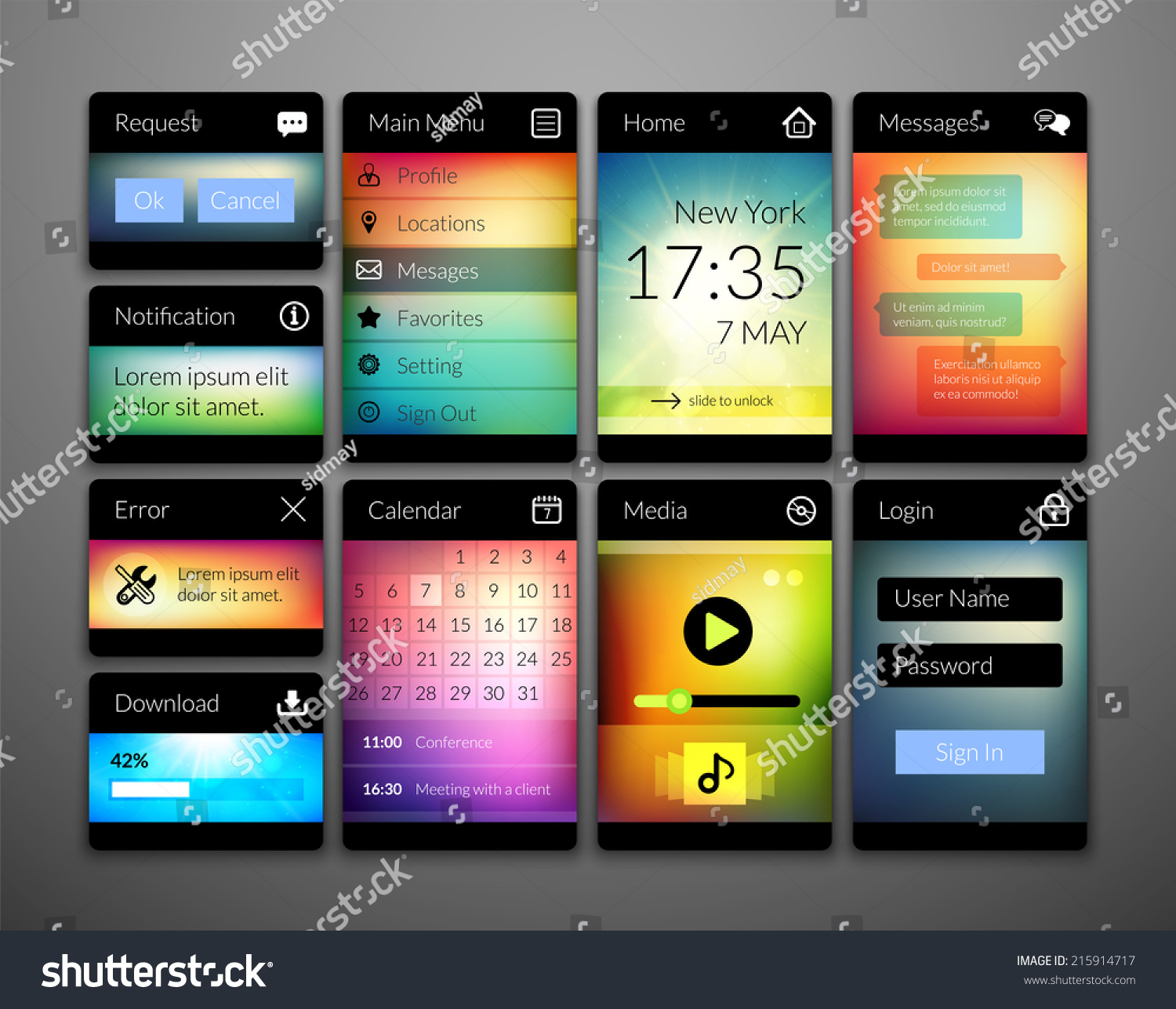 Mobile Interface Elements Colorful Wallpaper Design Stock Vector ...