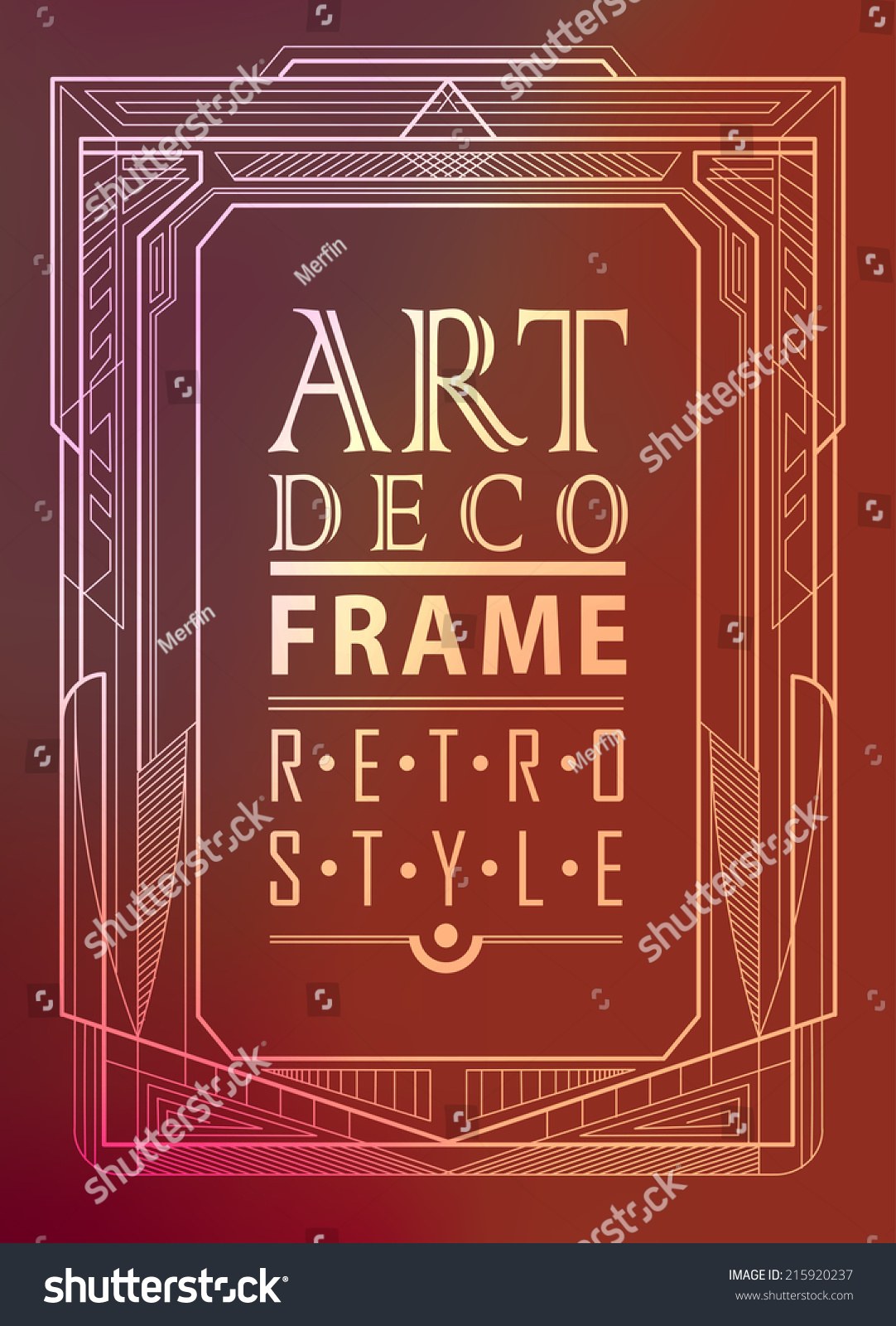 Art Deco Geometric Vintage Frame Can Stock Vector 215920237 ...