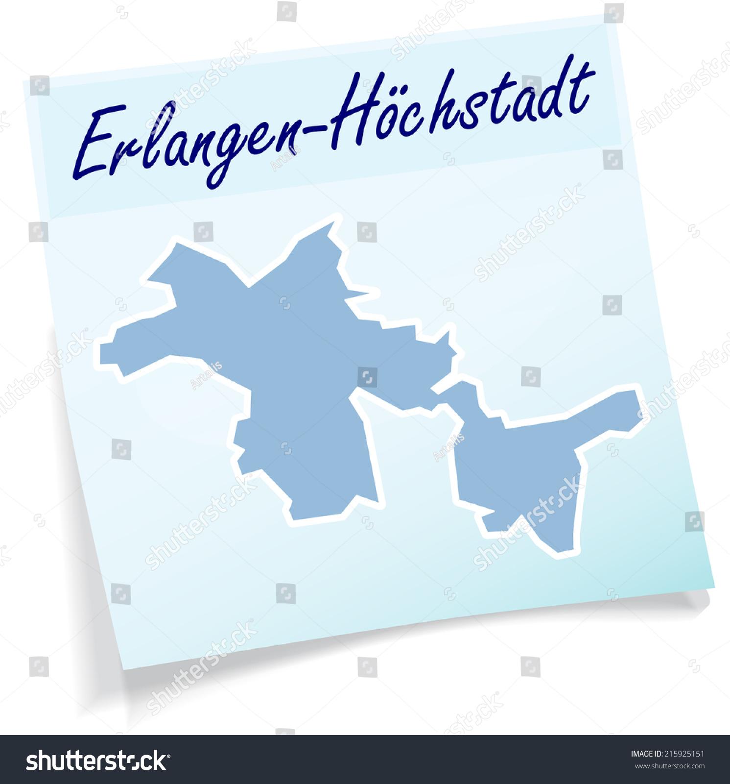 Map Erlangenhoechstadt Sticky Note Blue Stock Vector - Erlangen map
