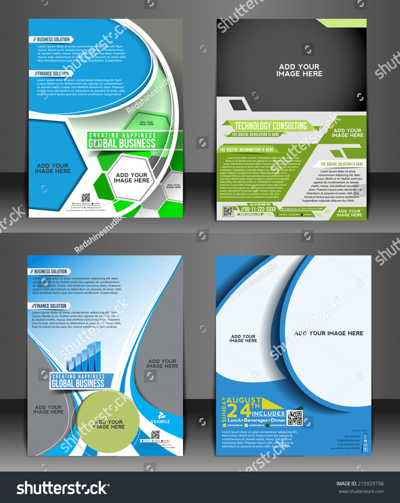 set presentation flyer design content background stock vector