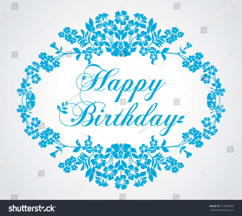 Happy Birthday Card Retro Style Blue Stock Vector ...
