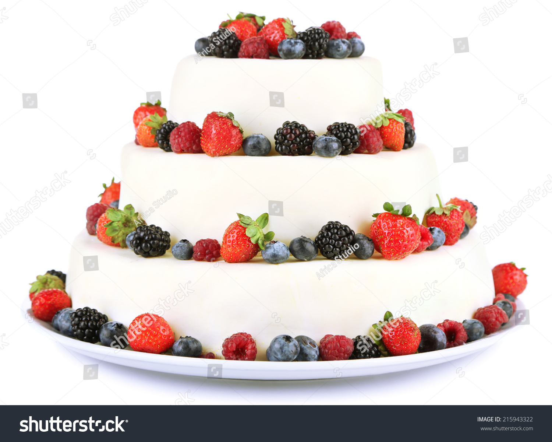 Beautiful Wedding Cake Berries Isolated On Stock Photo & Image ...