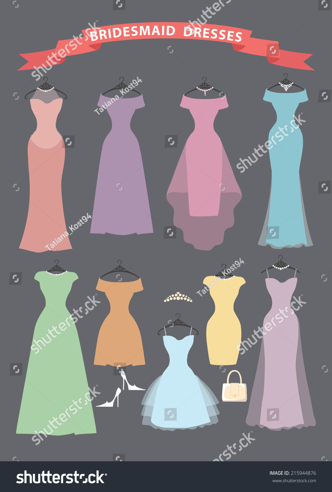 Different Bridesmaid Party Dresses Pastel Colors Wedding Stock
