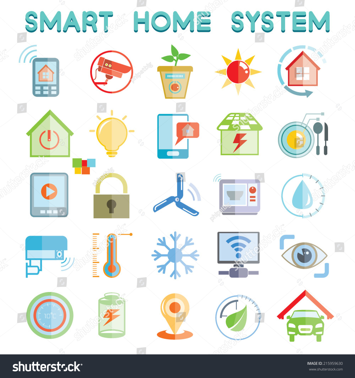 smart home system icons home automation icons set stock vector illustration 215959630. Black Bedroom Furniture Sets. Home Design Ideas