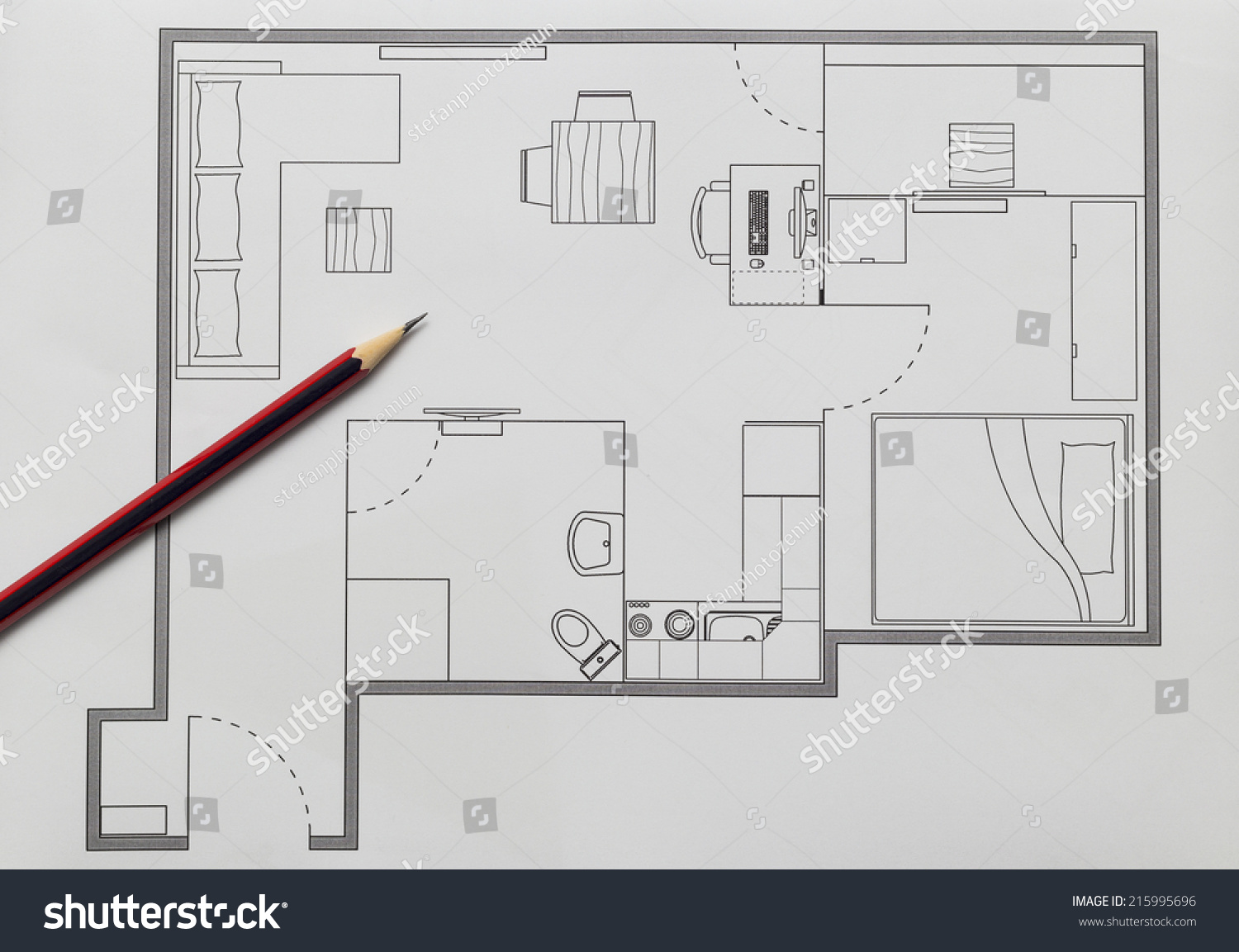 Apartment plan stock photo 215995696 shutterstock for Apartment stock plans