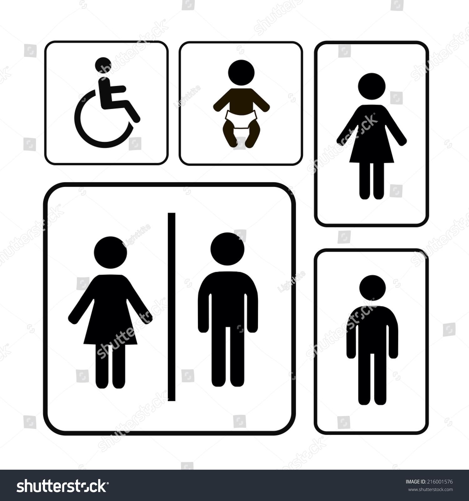 Bathroom Sign Vector restroom sign vector black silhouettes on stock vector 216001576
