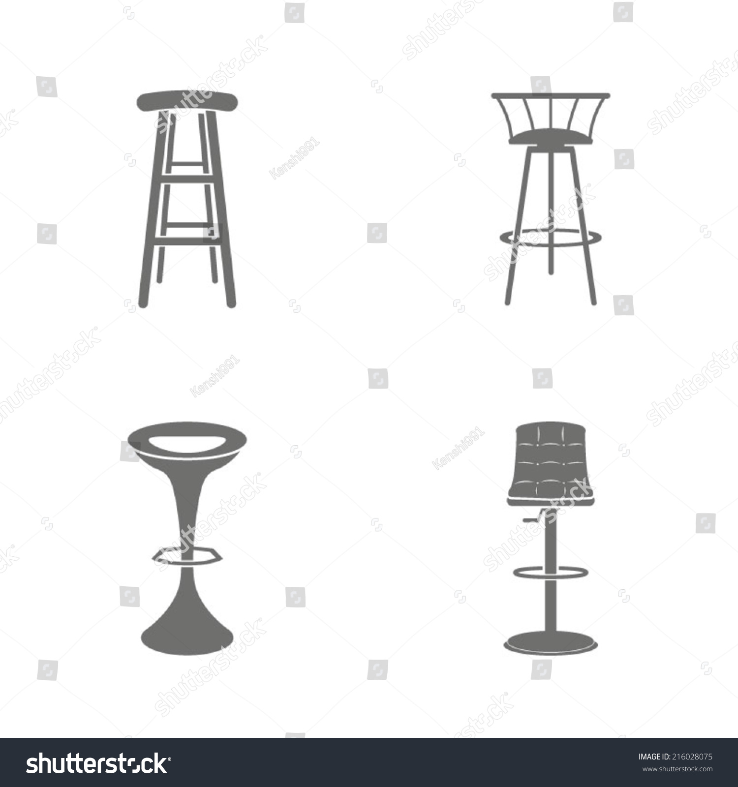 Set Of Four Bar Stool Icons Stock Vector Illustration  : stock vector set of four bar stool icons 216028075 from www.shutterstock.com size 1500 x 1600 jpeg 181kB