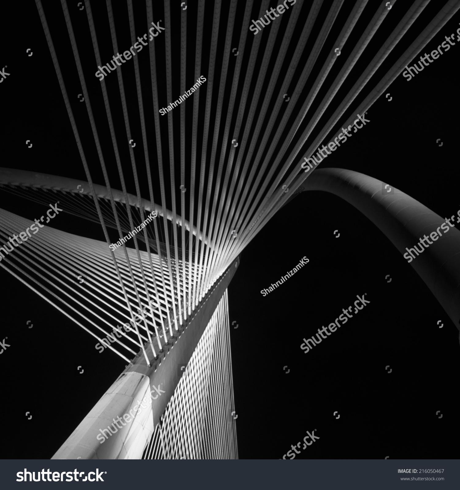 elasticity bridges string futuristic architecture black stock