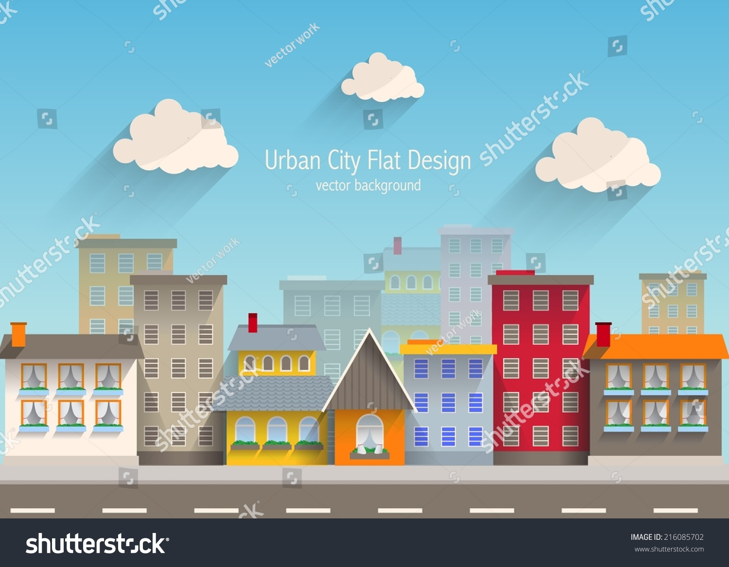 Urban city flat design stock vector illustration for Flat design pictures
