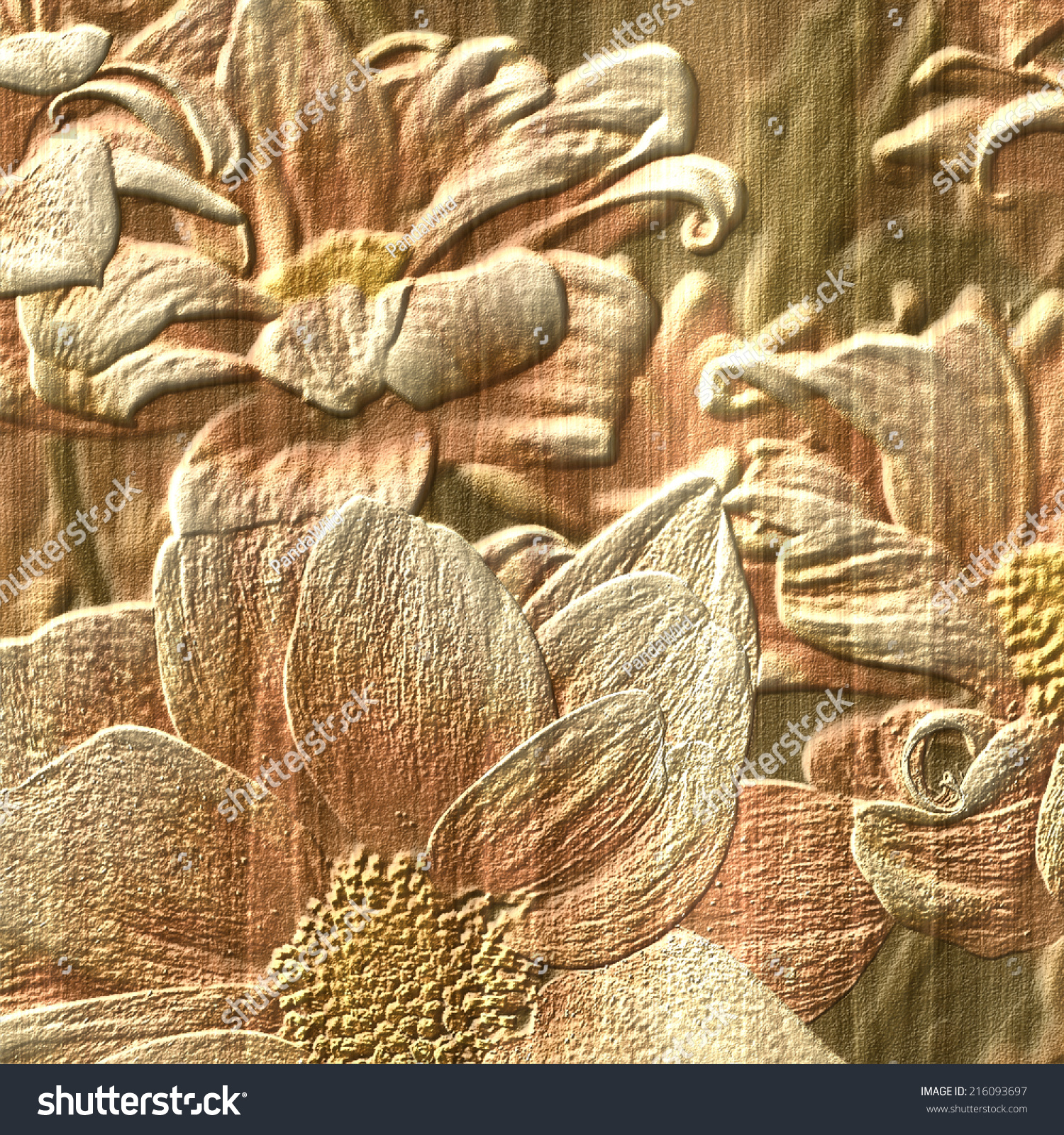 Flower stone relief background stock photo