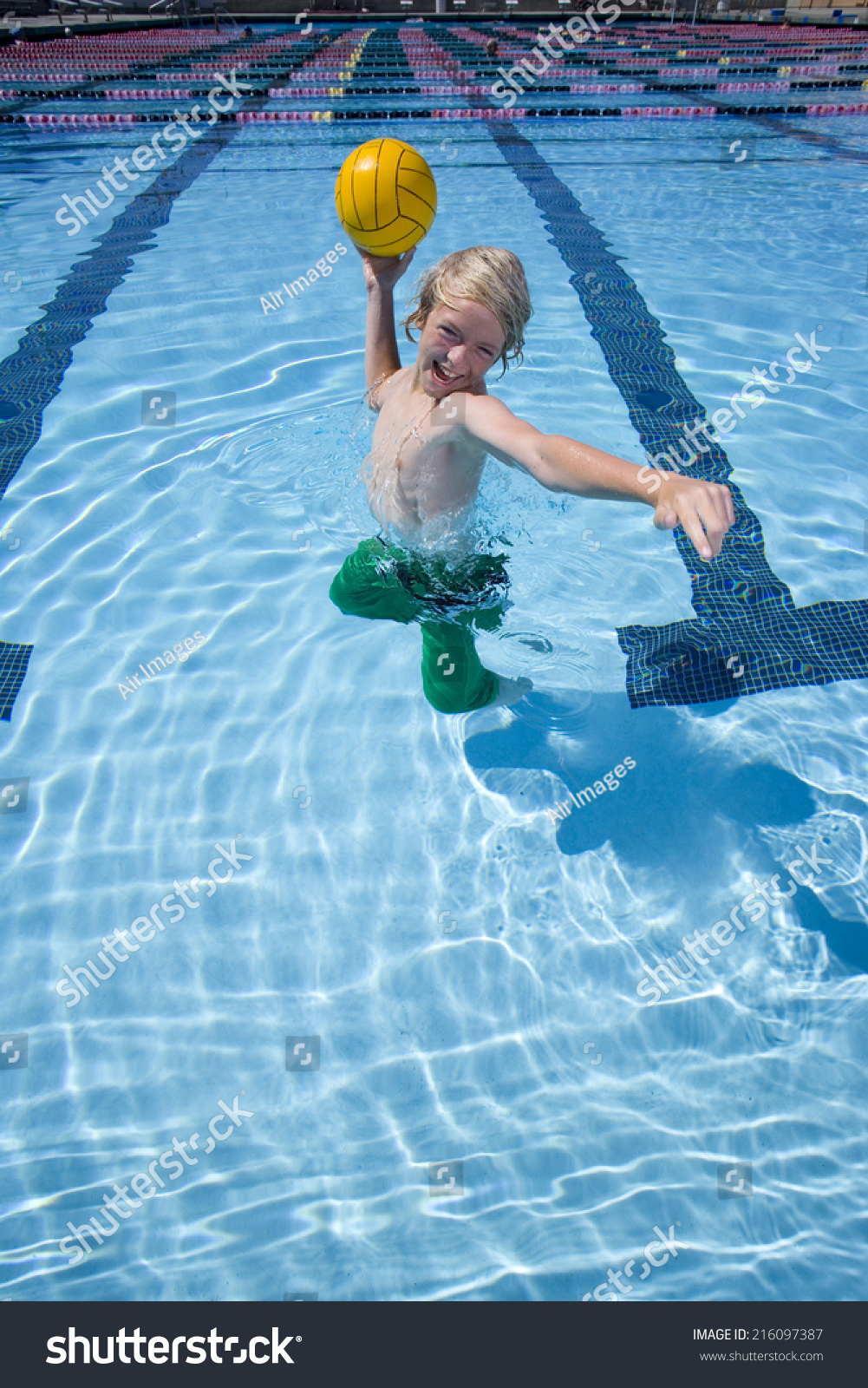 Young Boy Playing Ball Swimming Pool Stock Photo 216097387 Shutterstock