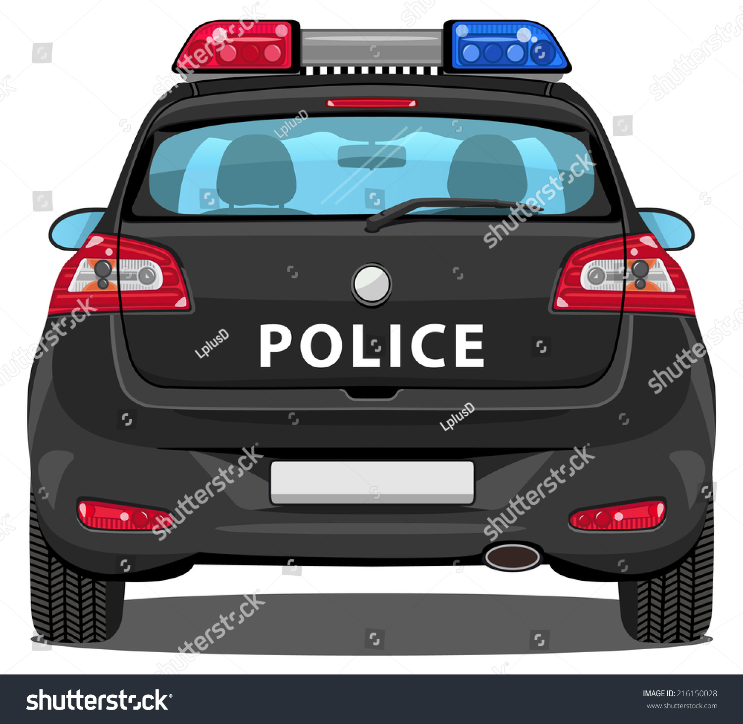 vector car back view police car with visible interior 216150028 shutterstock. Black Bedroom Furniture Sets. Home Design Ideas