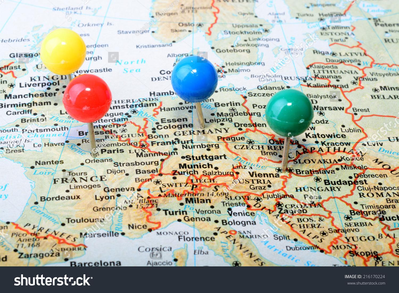 Macro Shot Of A Map Showing Main Western Europe Cities With A – Map of West Europe with Cities