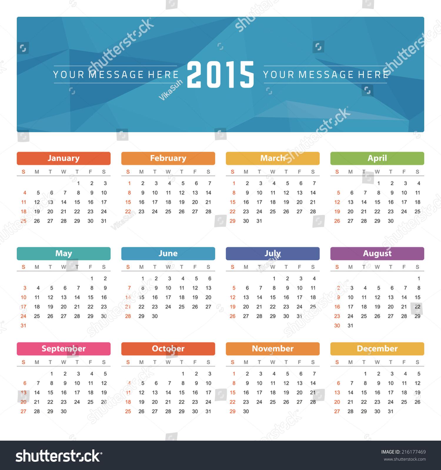 Kumpulan Calendar 2015 Year Vector Design Template Stock Photo - Gambaradakata.com - Gambaradakata.com