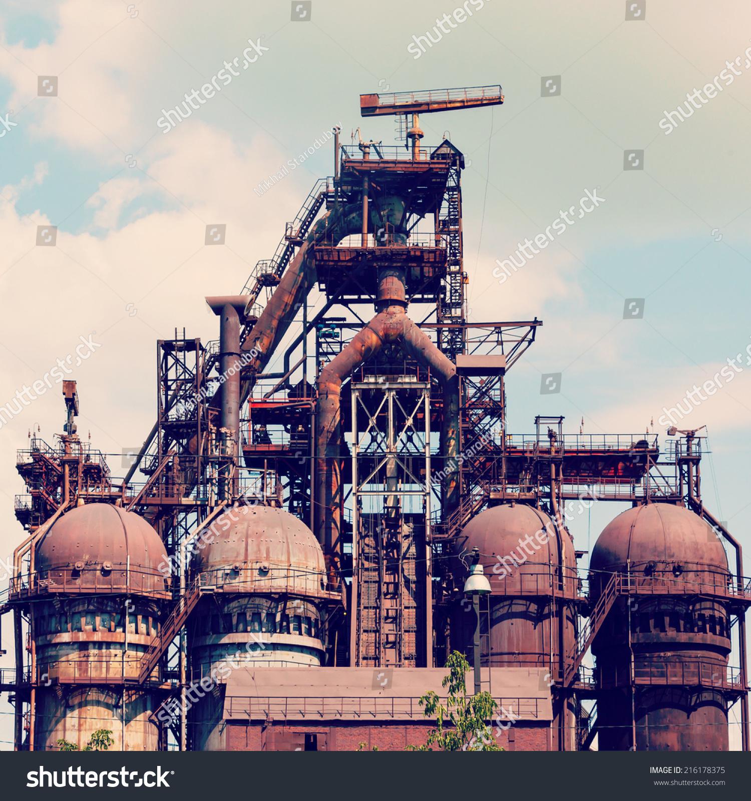 building blast furnace steel industry on stock photo 216178375