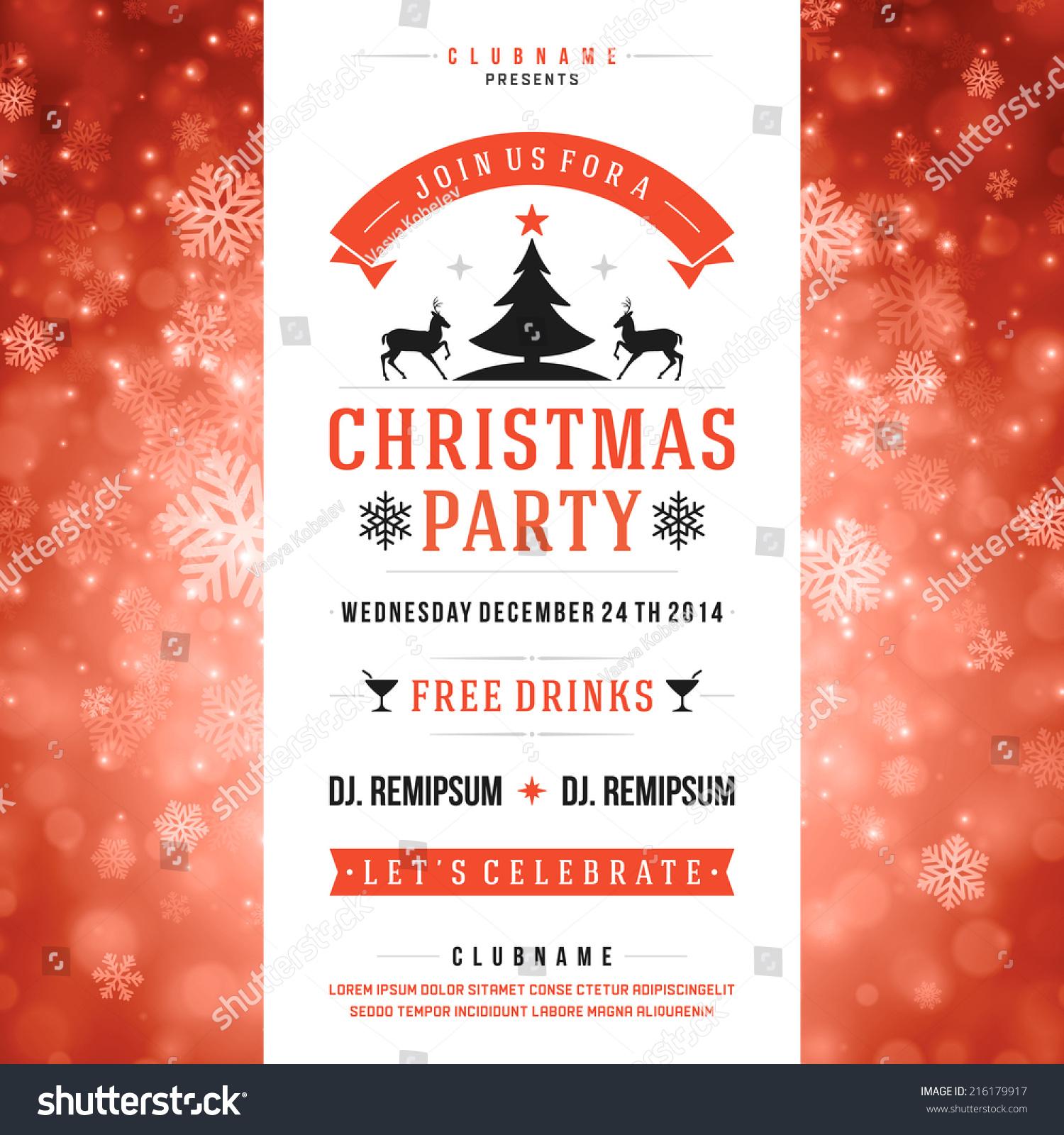 Royalty-free Christmas party invitation retro… #216179917 Stock ...