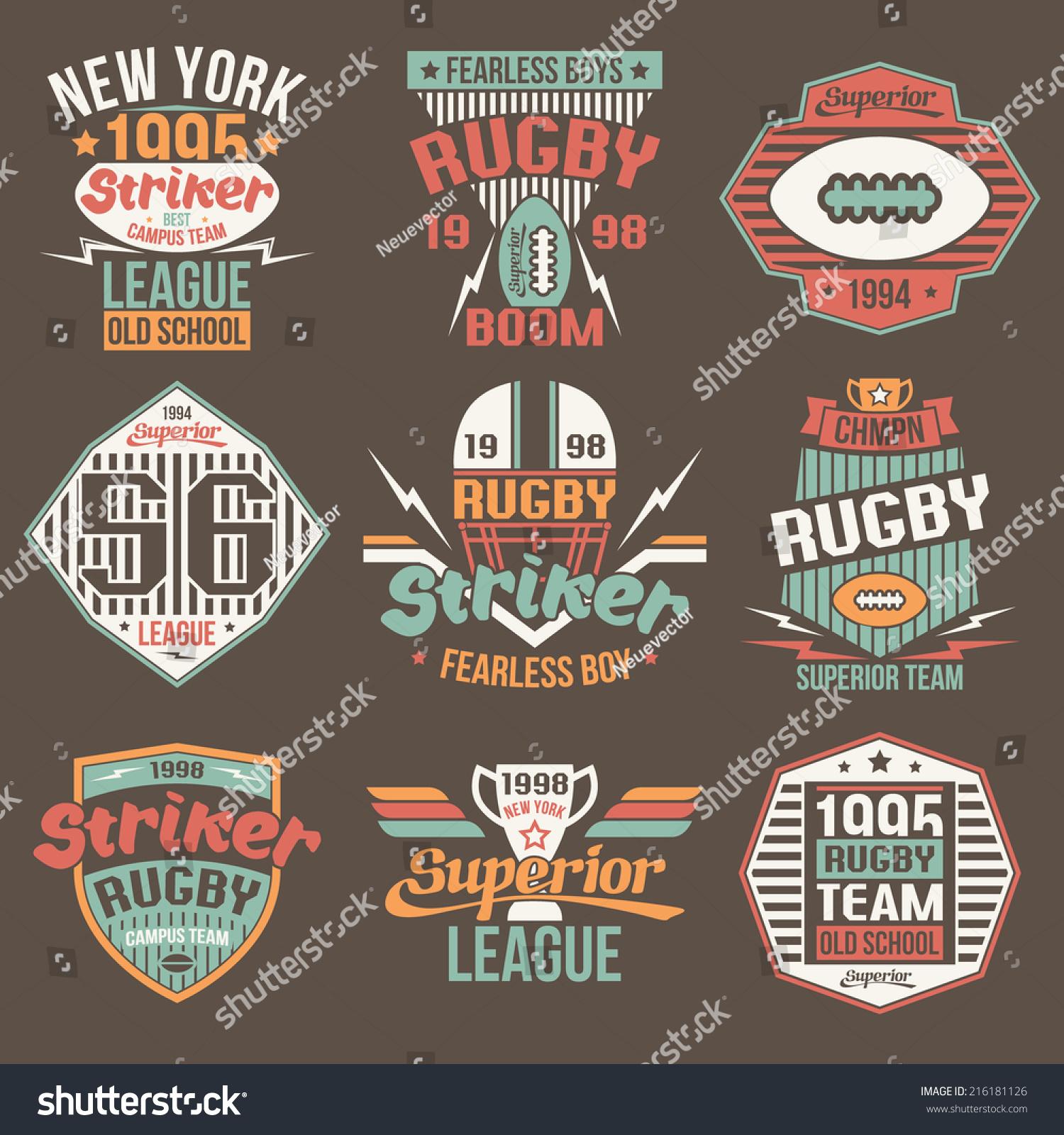 College Team American Football Retro Vintage Stock Vector