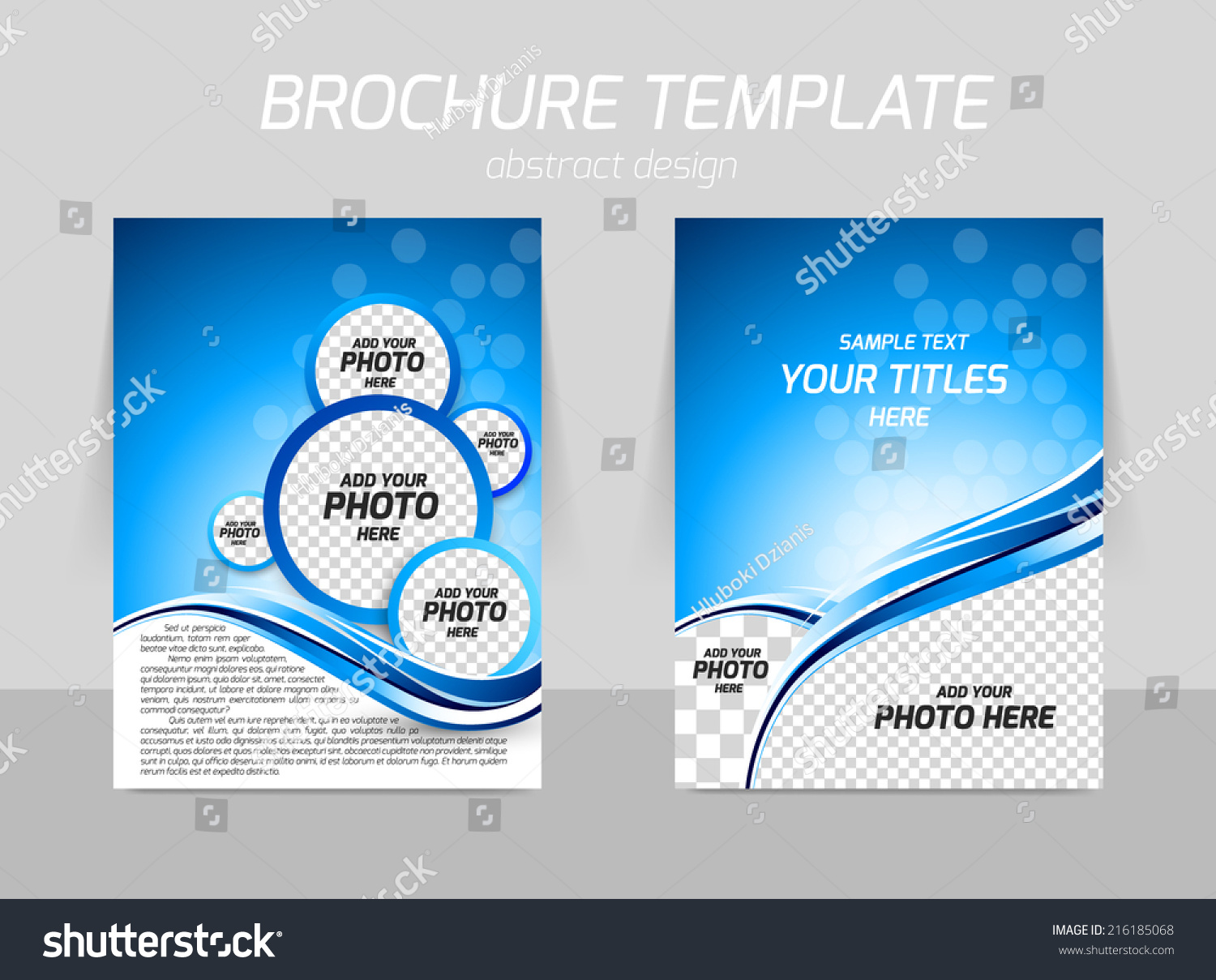 flyer template back front design wave stock vector 216185068 flyer template back and front design wave in blue color and circles