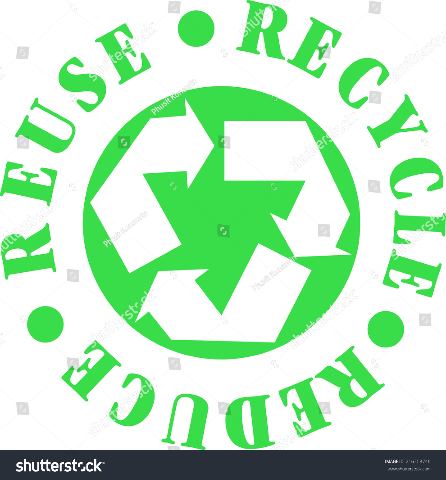 Recycle Reduce Reuse Symbol Stock Vector Royalty Free 216203746