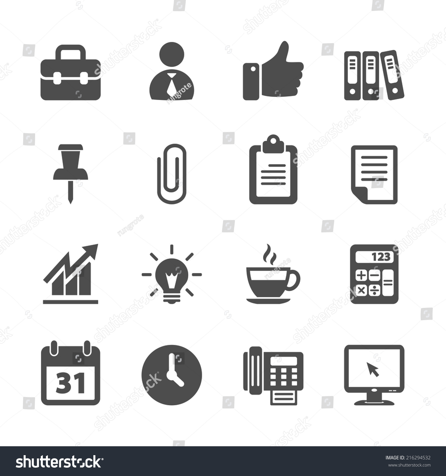 Business Office Work Icon Set Vector Stock Vector