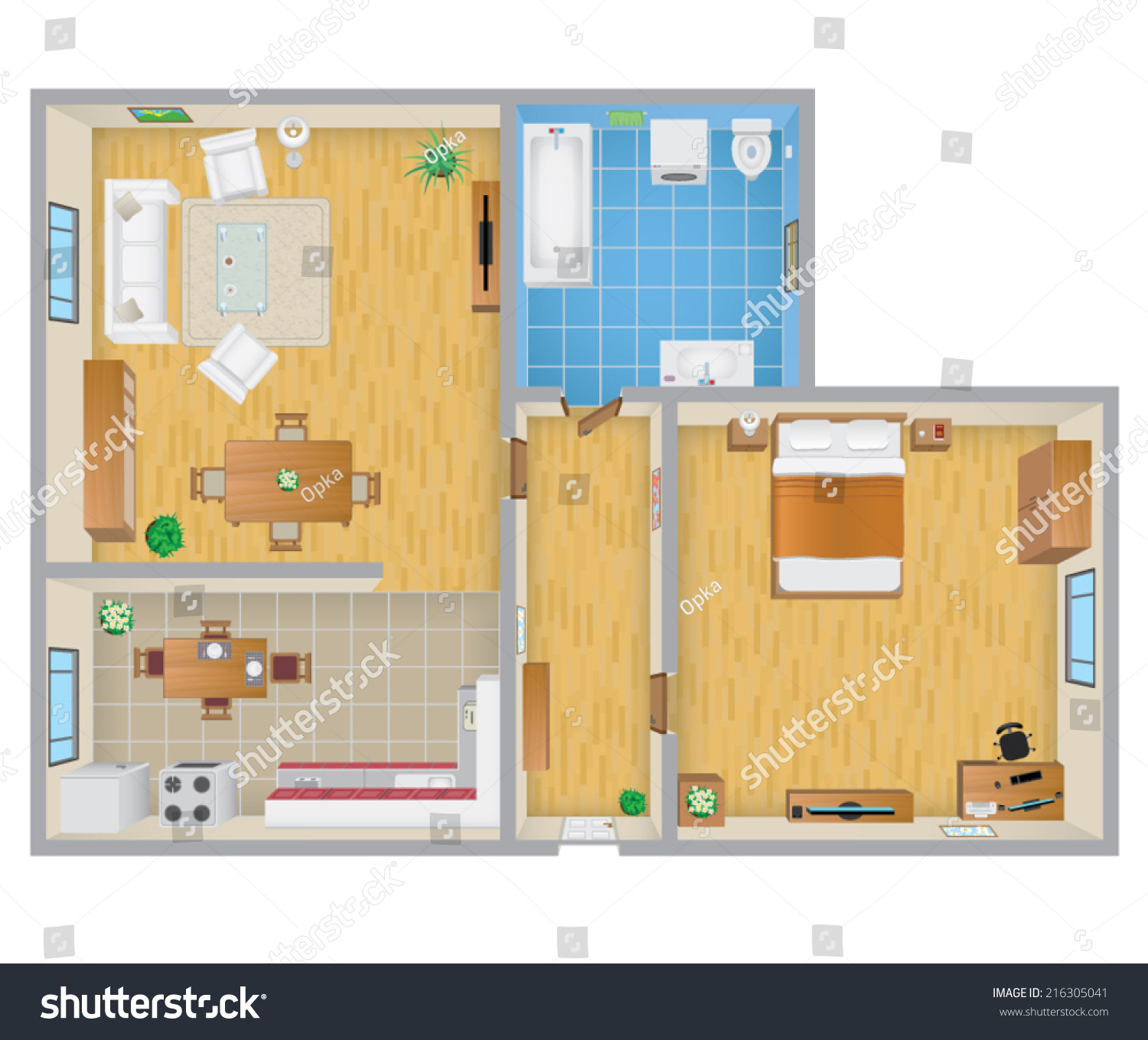Apartment plan stock vector illustration 216305041 for Apartment stock plans