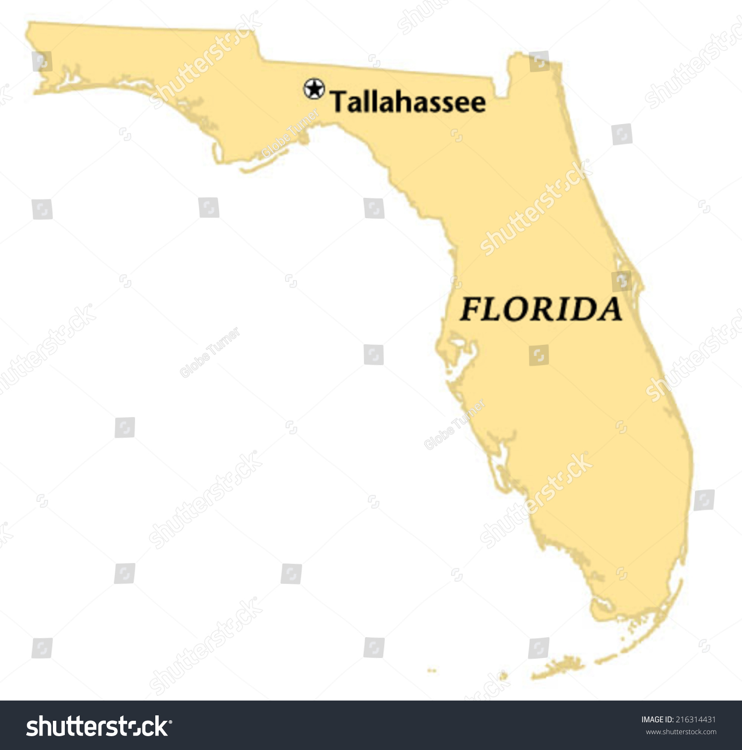Tallahassee Florida Map.Tallahassee Florida Locate Map Stock Vector Royalty Free 216314431
