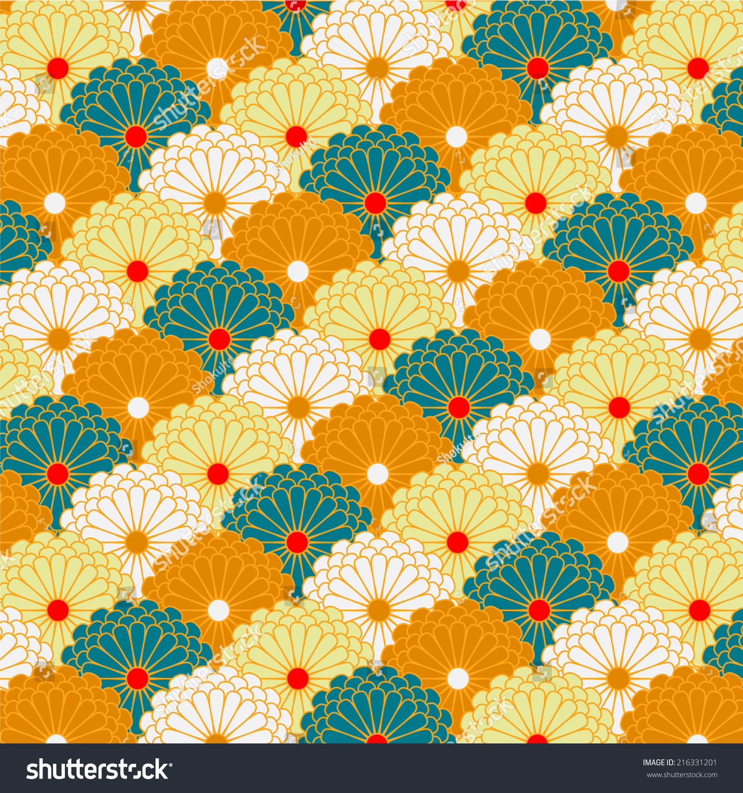 Traditional Japanese Chrysanthemum Flower Pattern ...