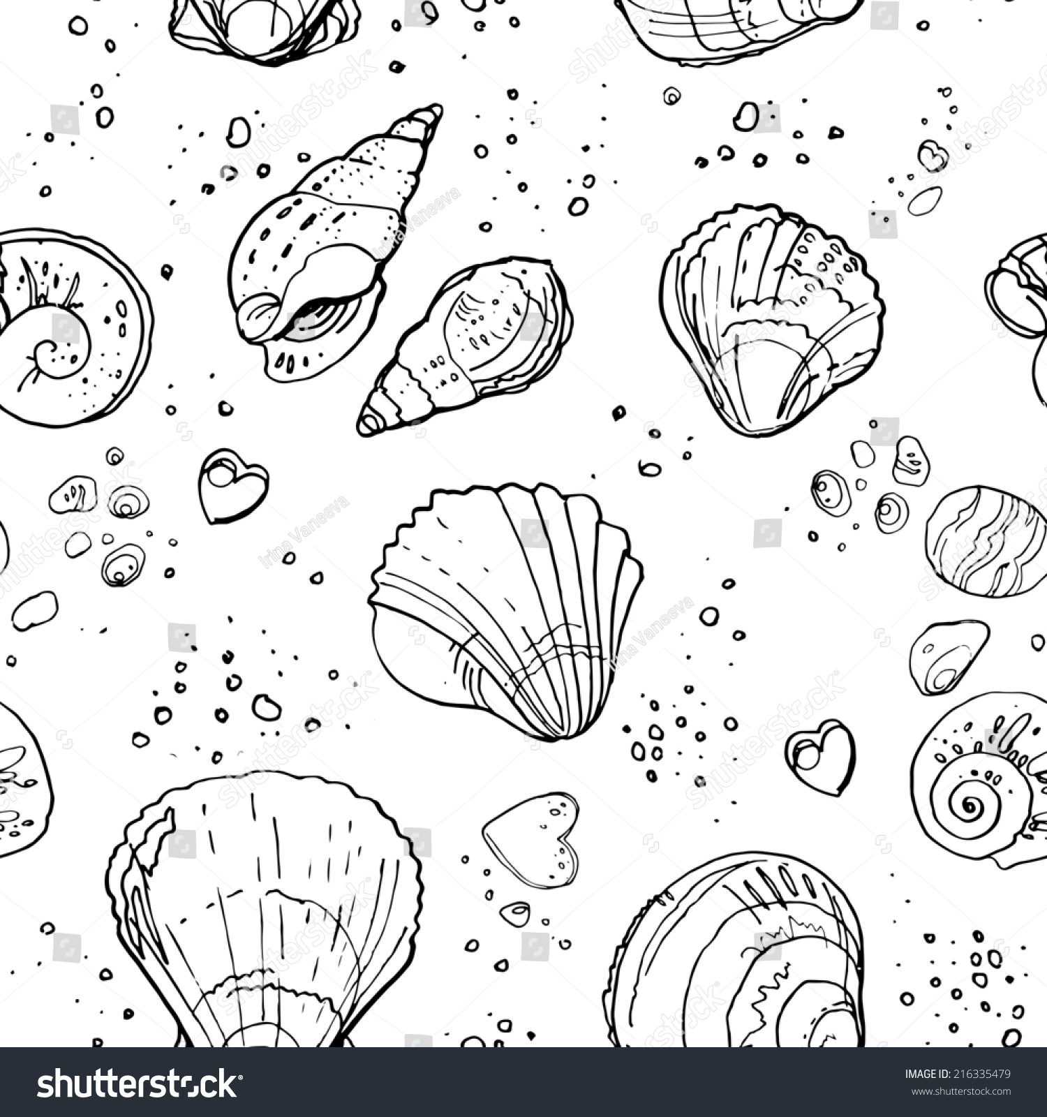 Pattern Seashells Beach Black Line Stock Illustration