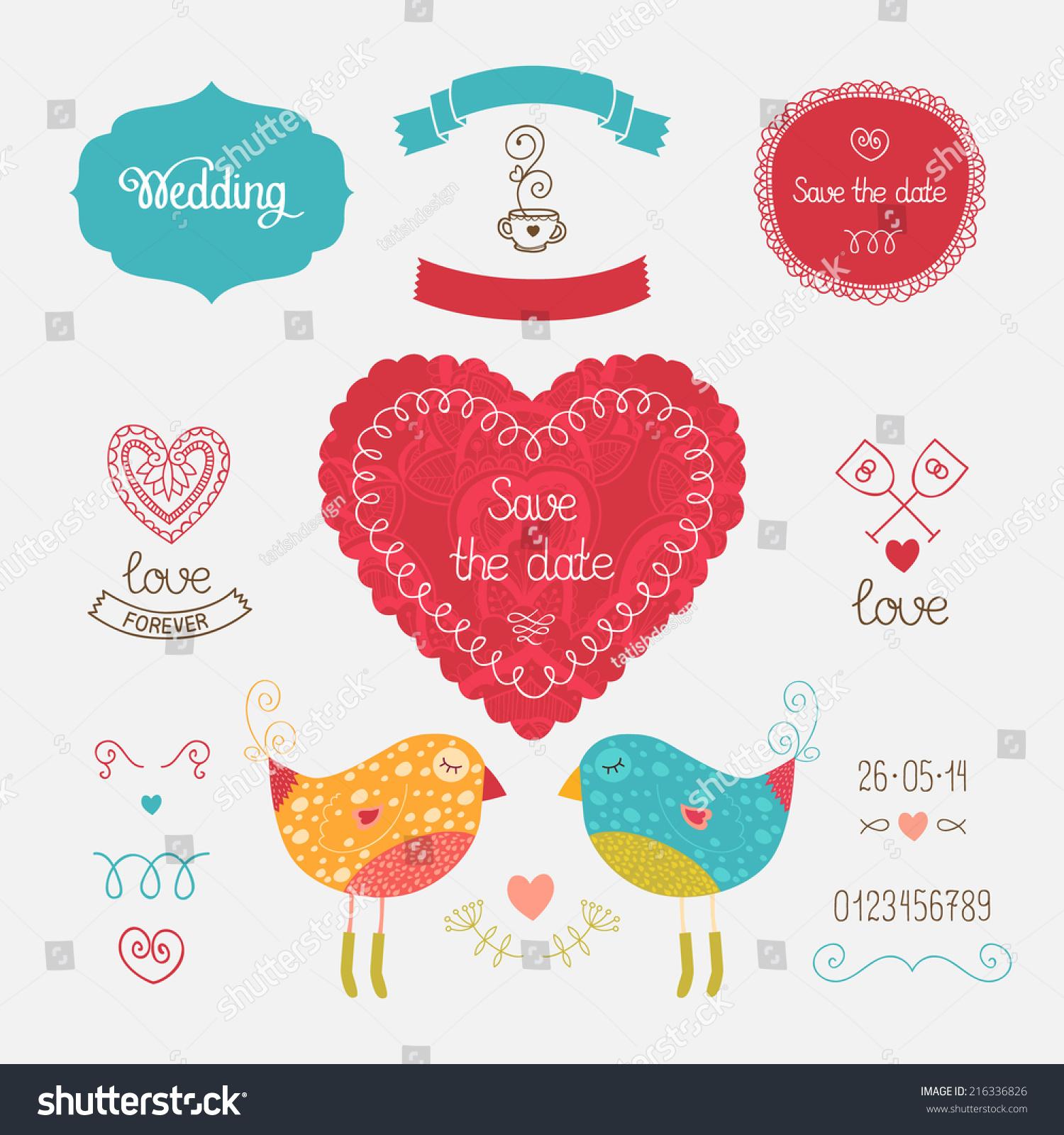 Wedding Invitation Collection Heart Birds Hand Stock Vector ...