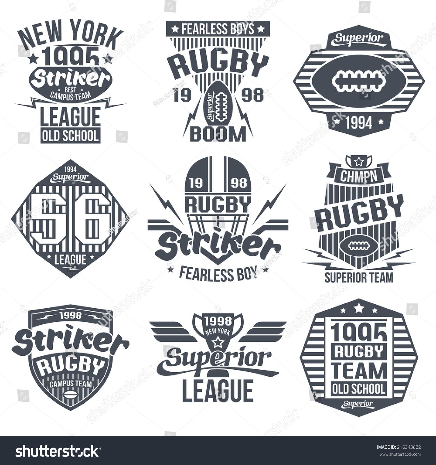 College Team American Football Retro Vintage Emblems