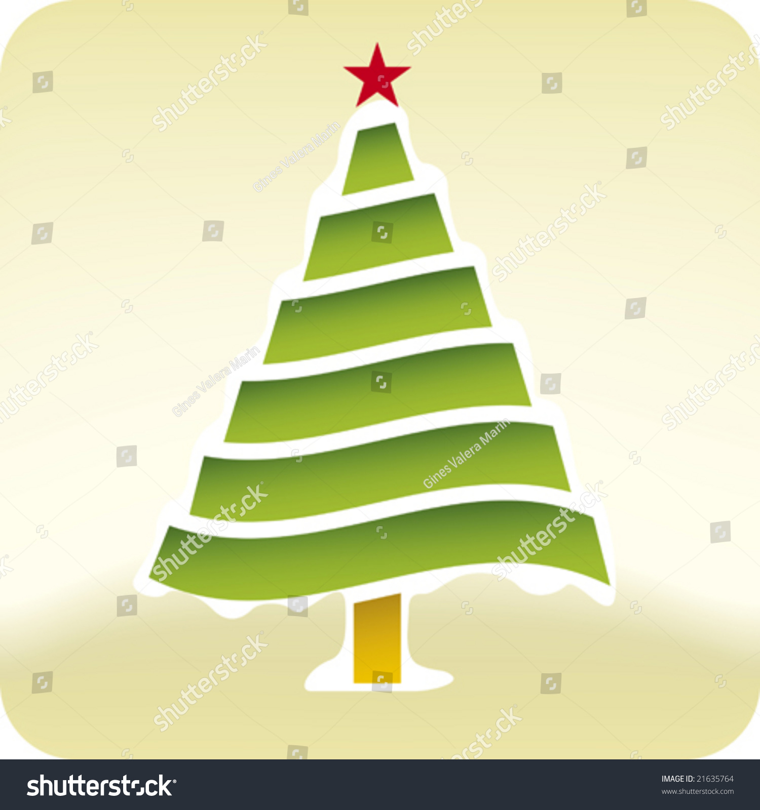 Winter Christmas Tree Only Global Colors Stock Vector Royalty Free