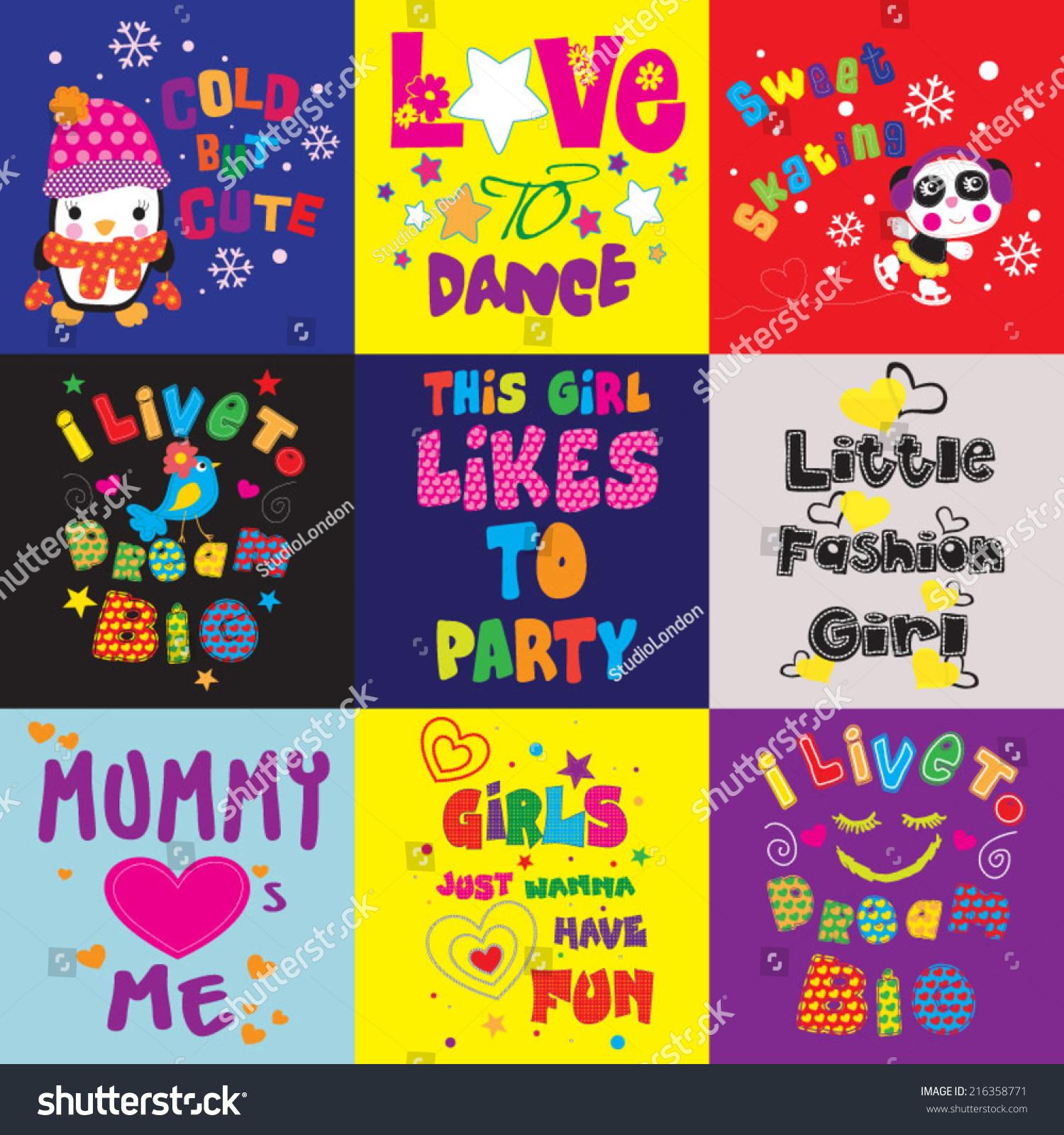 tshirt graphics cute illustrations children tshirt stock