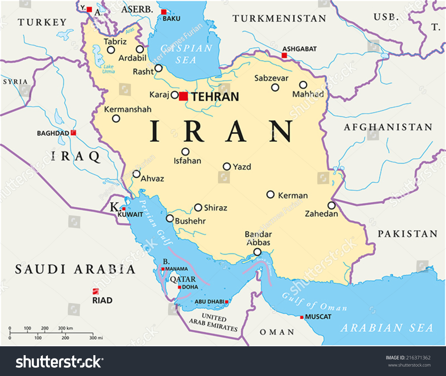 Iran political map capital tehran national stock vector 216371362 iran political map with capital tehran national borders most important cities rivers and gumiabroncs Gallery
