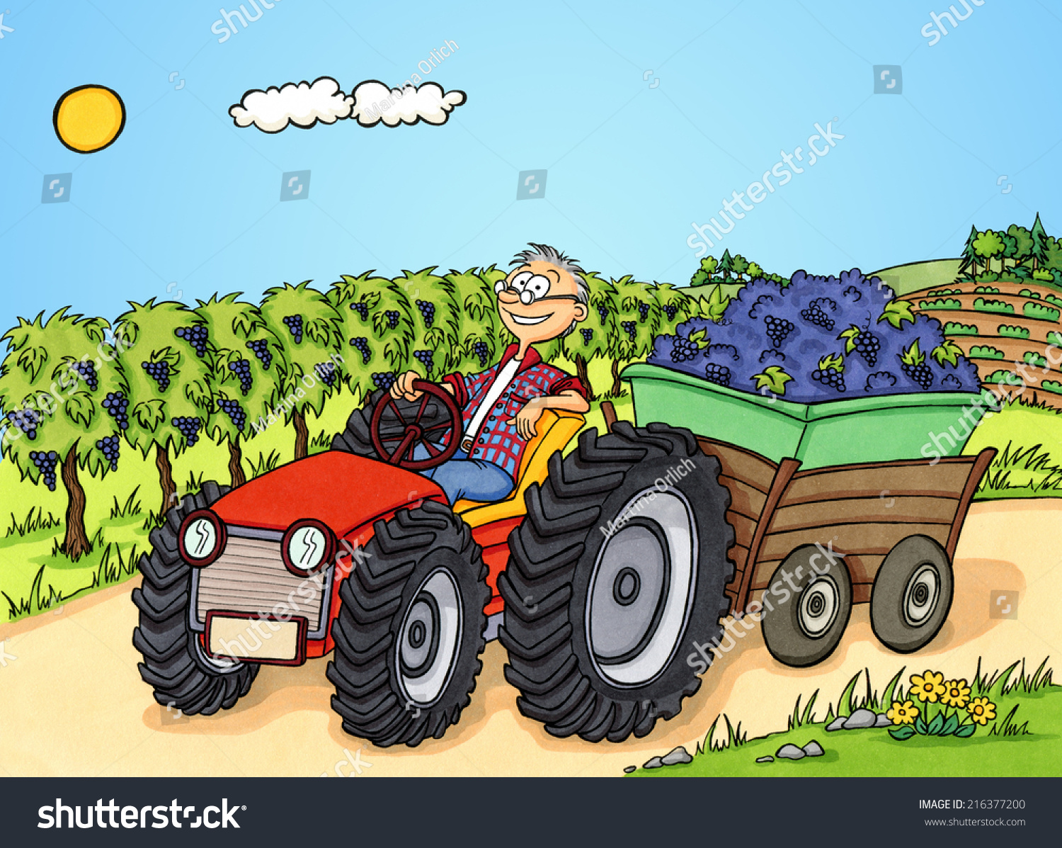 Drawing Man On Tractor : Cartoon man transporting grapes tractor stock illustration