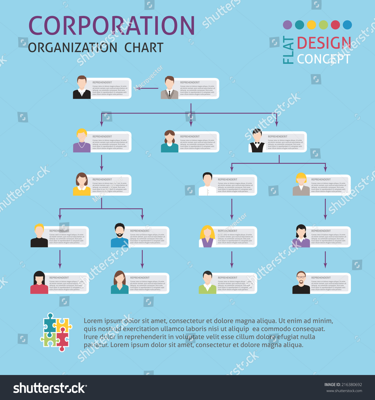 Corporate Structure Organisation Chart Infographics Set