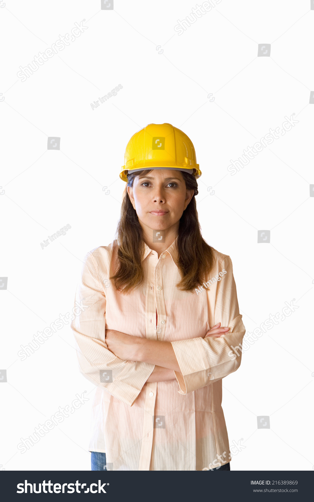 woman hard hat arms folded cut stock photo royalty free 216389869