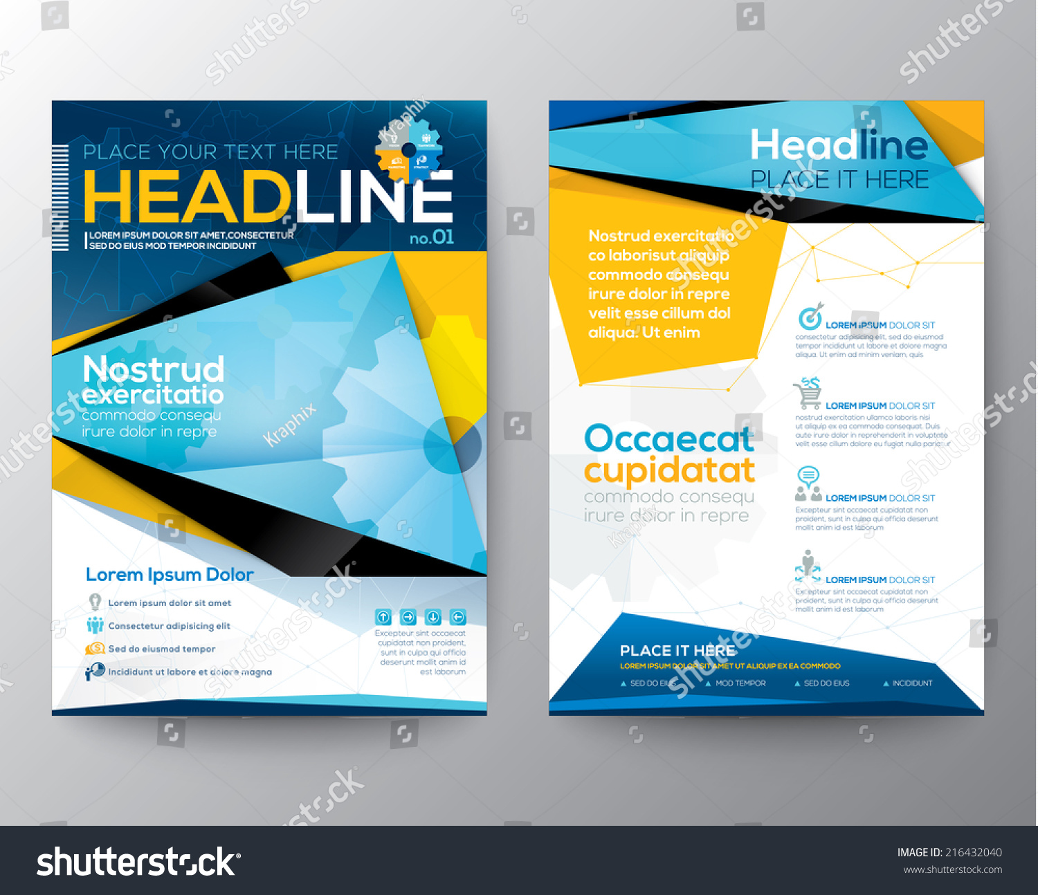 Brochure template layout cover design annual report magazine flyer - Abstract Triangle Design Vector Template Layout For