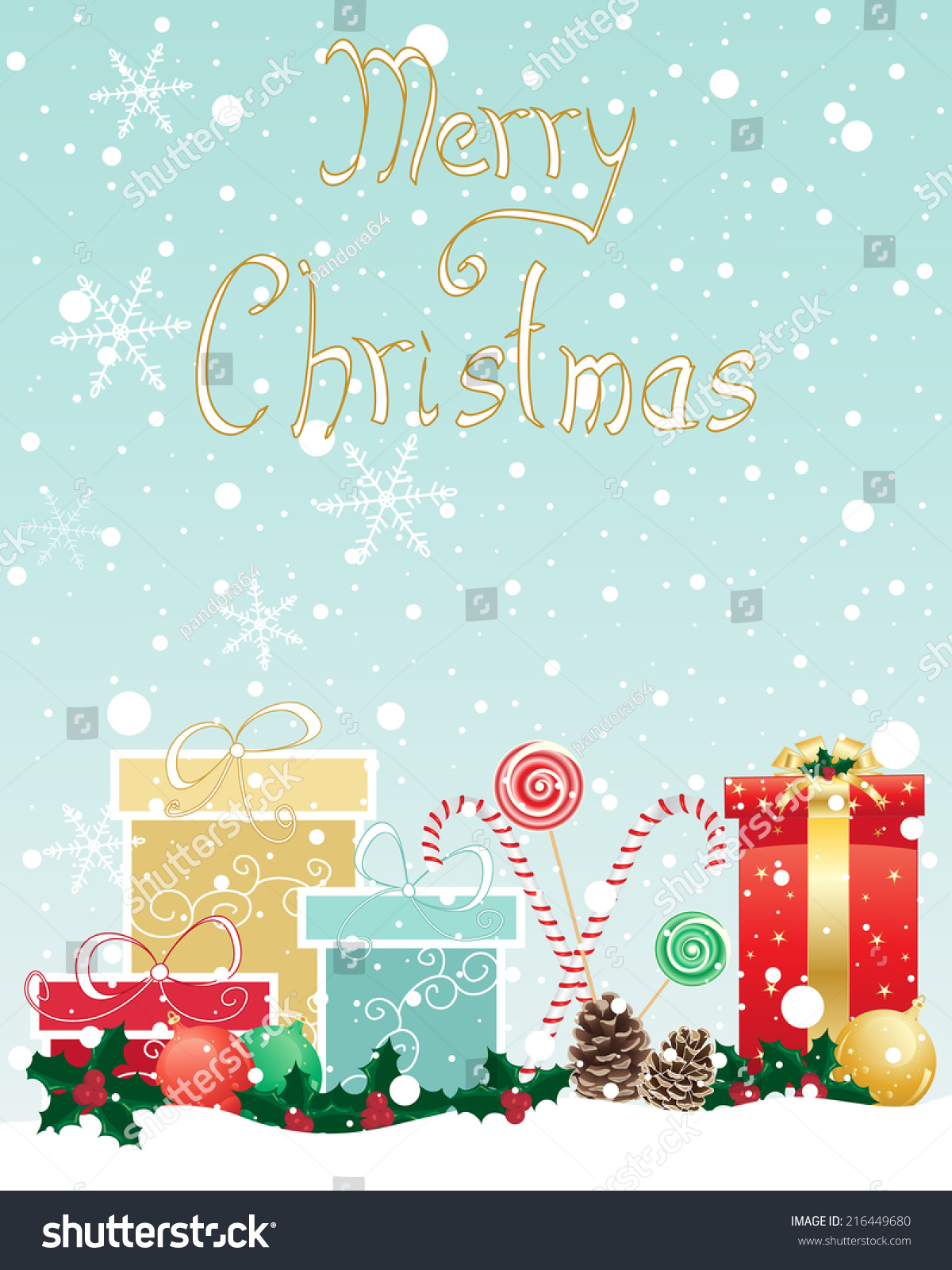 Illustration Christmas Greeting Card Wrapped Gifts Stock