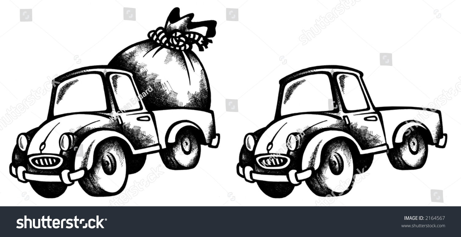 Colour a car - Cartoon Illustration Of A Car With Present And Without In Black Colour