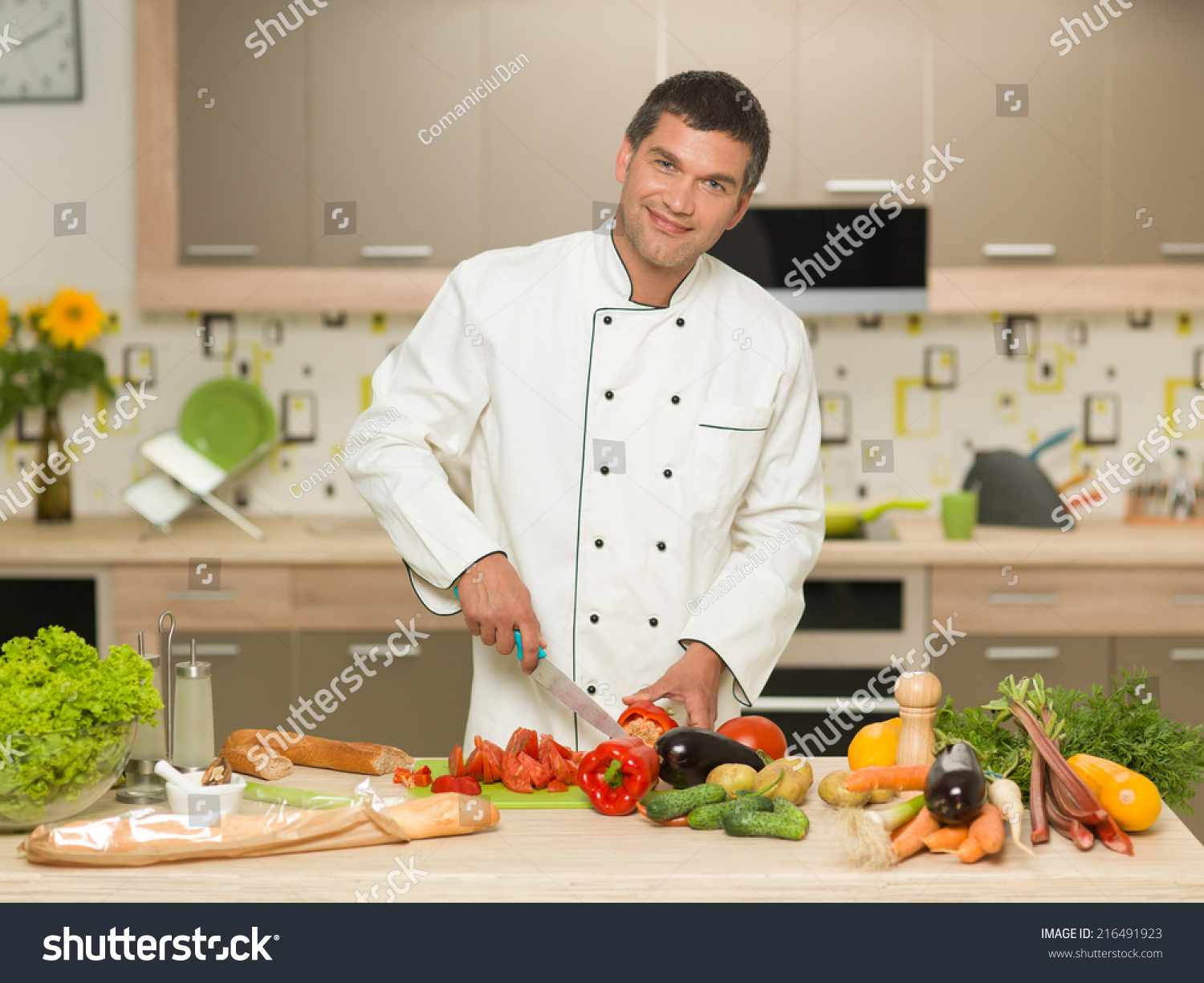 Front View Caucasian Man Wearing Chef Stock Photo ...