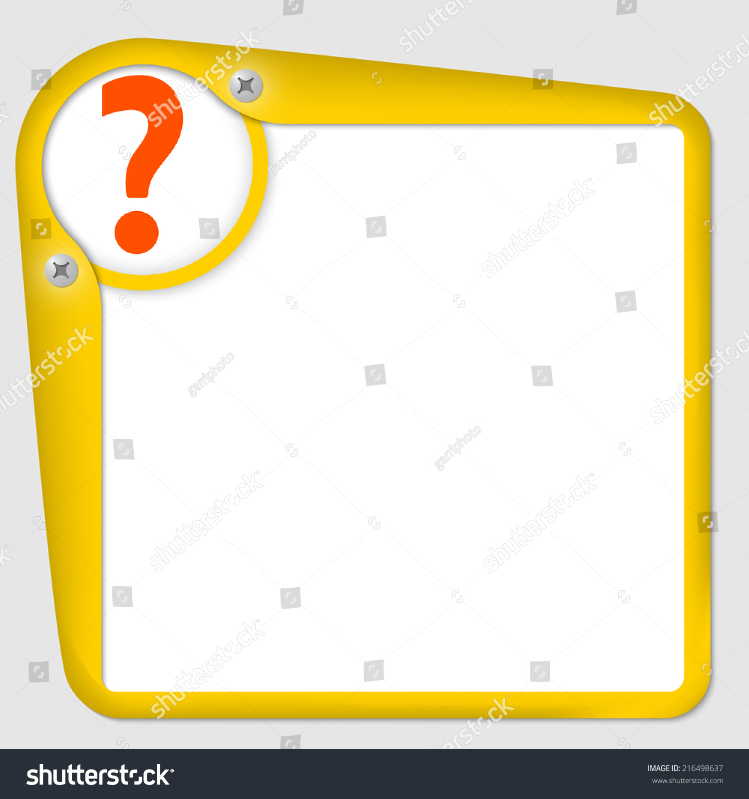 yellow frame for text with screws and question mark - Yellow Frame