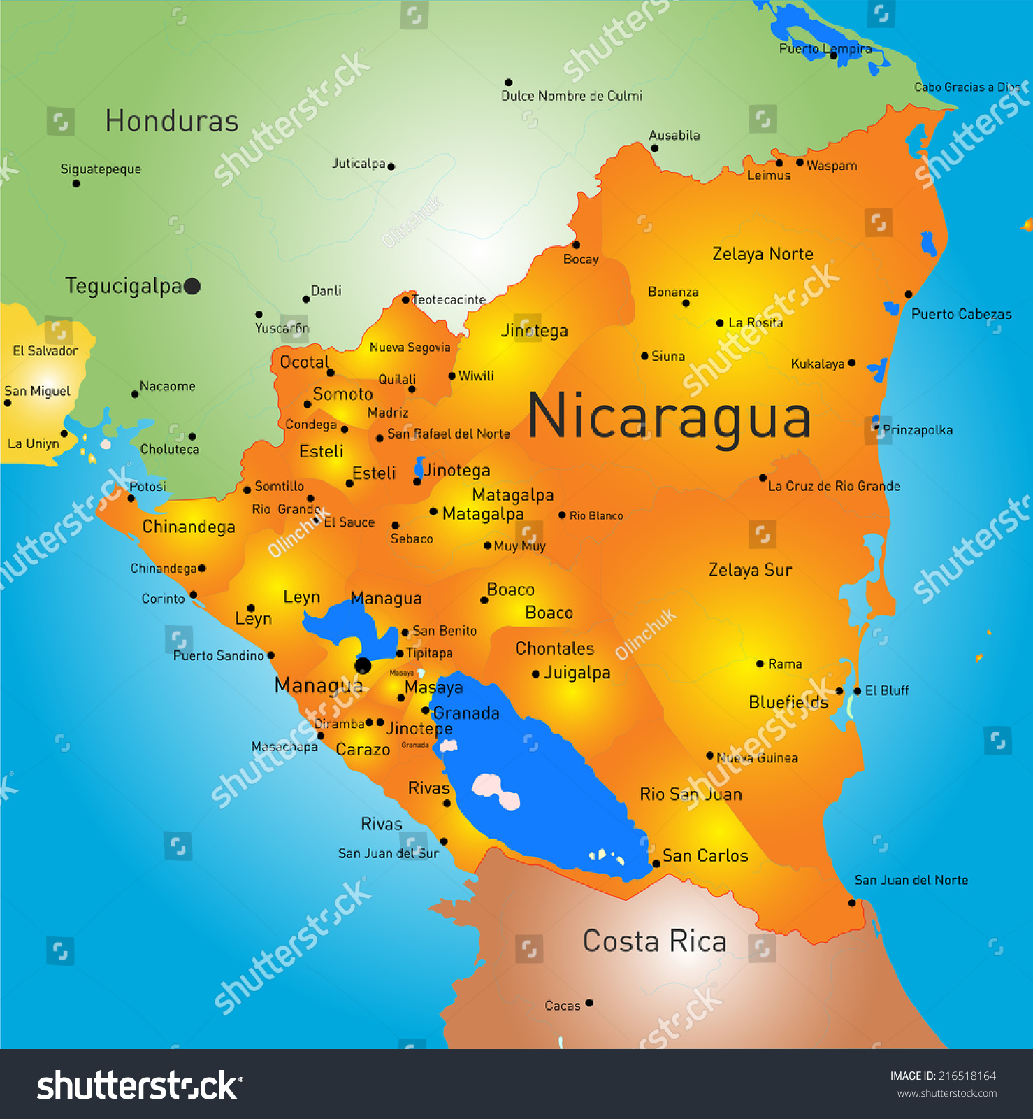 Vector Color Map Nicaragua Country Stock Vector - Country map of nicaragua