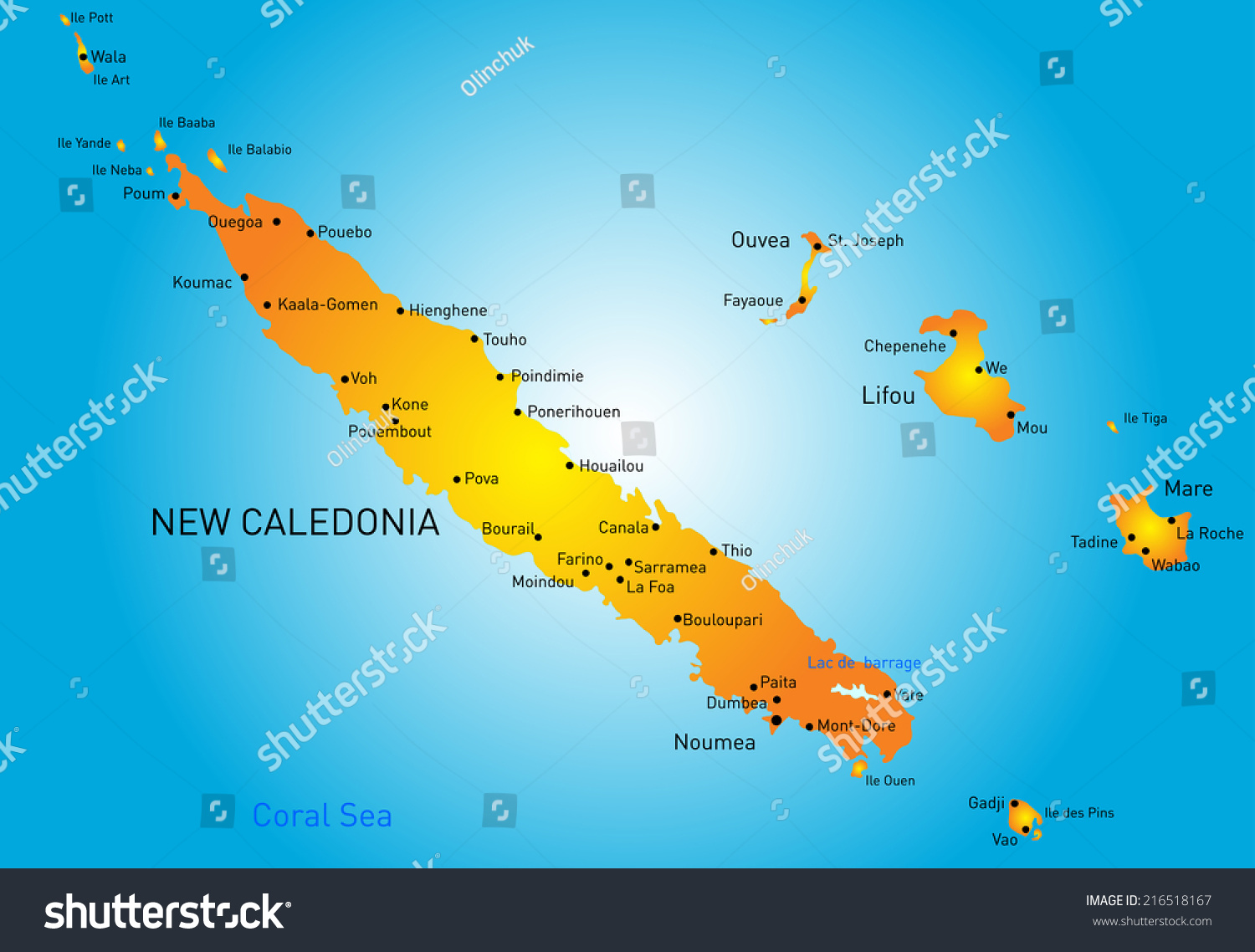 Vector Color Map New Caledonia Stock Vector Shutterstock - New caledonia map