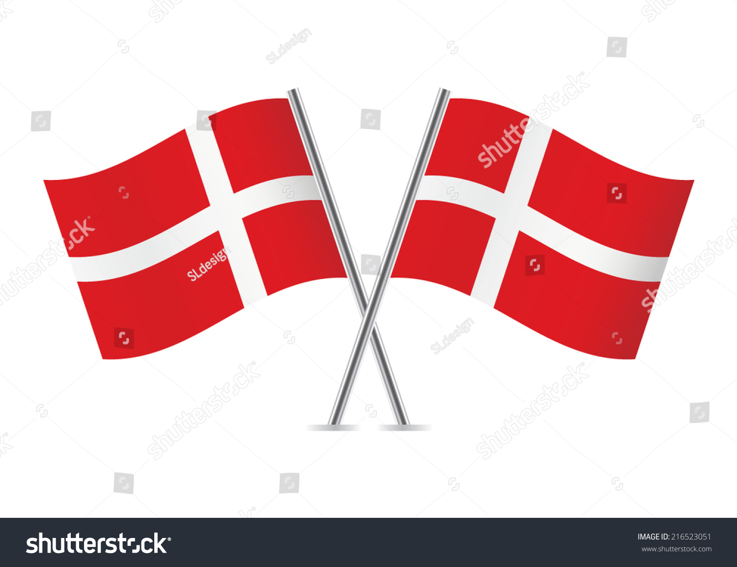 Denmark Flags Vector Illustration Stock Vector - Denmark flags