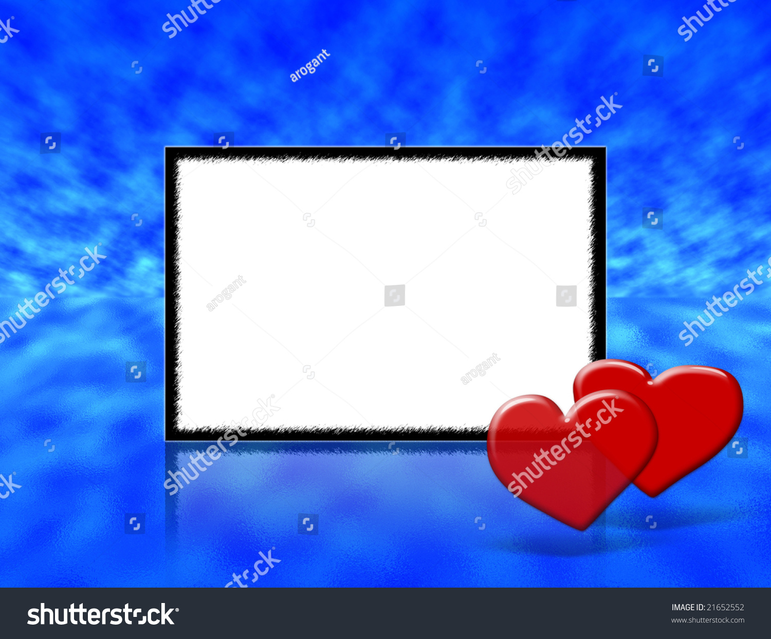 frame for wedding anniversary or valentines day invitations with blue abstract background