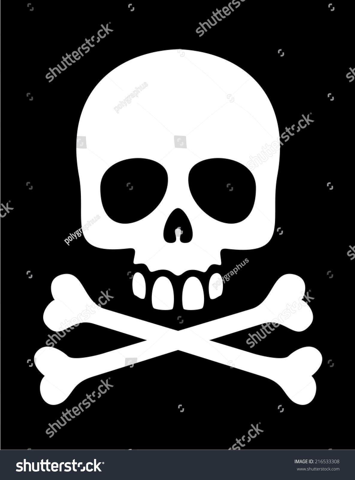 White Skull Crossbones Symbol On Black Stock Vector Royalty Free