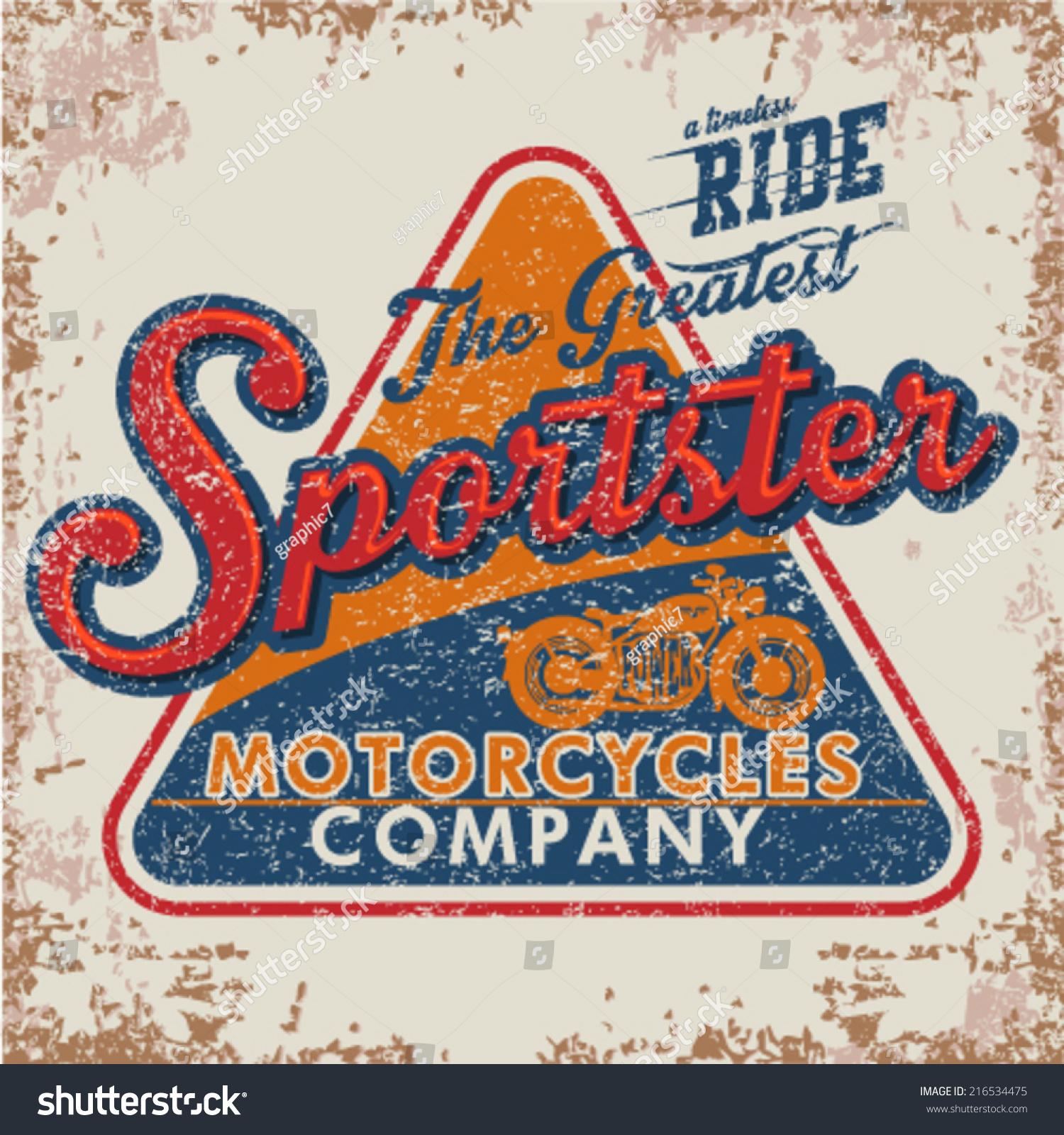 Retro Tshirt Print Design Orange Motorcycle Stock Vector 216534475 ...